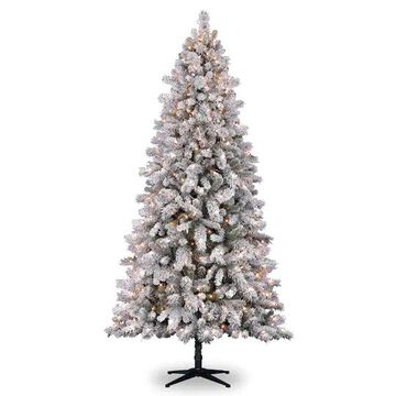 7.5Ft Pre-Lit Vermont Pine Flocked Artificial Christmas Tree, Clear Lights by Ashland in White   Michaels