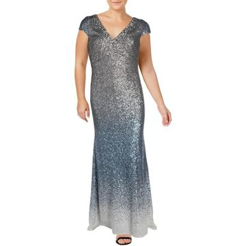 Carmen Marc Valvo Womens Evening Dress Sequined Ombre