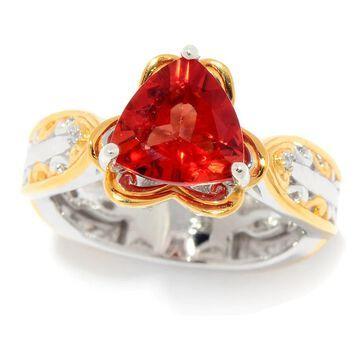 Michael Valitutti Palladium Silver Trillion Shaped Andesine & Diamond Ring