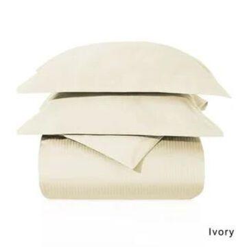 Superior Egyptian Cotton 1000 Thread Count Stripe Duvet Cover Set (Ivory - California King)