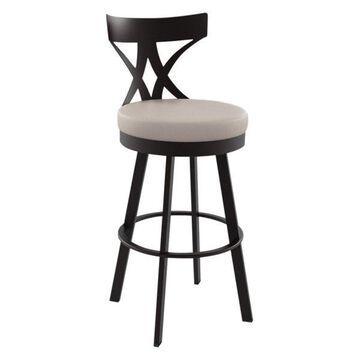 Washington Swivel Stool, Base: Textured Dark Brown, Counter Height, Seat: Beige