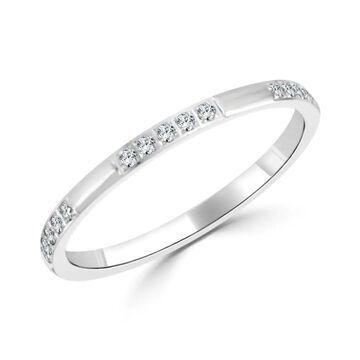 Auriya 10k Gold 1/6ctw Ultra-thin Stackable Diamond Wedding Band (Yellow - 8)