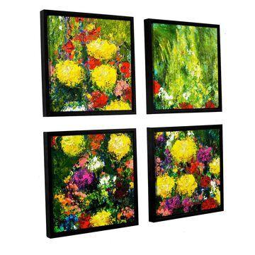 ArtWall Allan Friedlander 'Savannah' 4 Piece Floater Framed Canvas Square Set