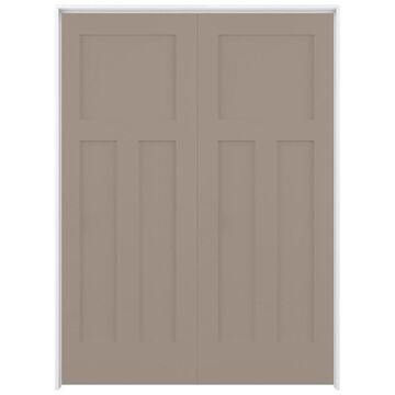 ReliaBilt Shaker 60-in x 80-in Sand Piper 3-Panel Craftsman Solid Core Prefinished Pine MDF Universal Inswing Double Prehung Interior Door in Brown