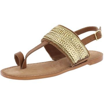 Naughty Monkey Womens Petra Leather Sequined Slingback Sandals