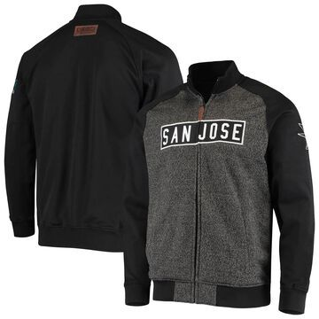 Men's CCM Black San Jose Sharks Vintage Raglan Full-Zip Track Jacket