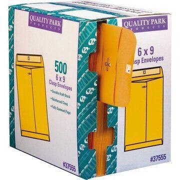 Quality Park, QUA37555, Clasp Envelopes with Dispenser, 500 / Carton, Kraft