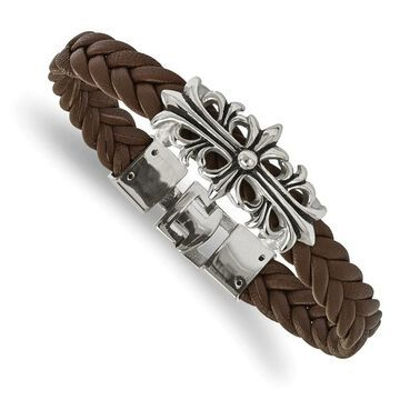 Chisel Stainless Steel Polished Antiqued Brown Leather Filigree Bracelet (8.5 Inch - White)