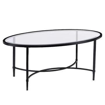 Southern Enterprises Quinton Oval Coffee Table, Black