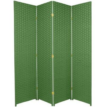Oriental Furniture 6 Ft Tall Woven Fiber Room Divider, light green, 4 panel