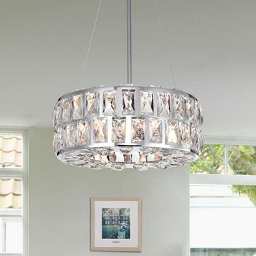 Warehouse Of Tiffany Darine Chrome-finished Metal 13-inch 3-light Pendant with Crystal Accents