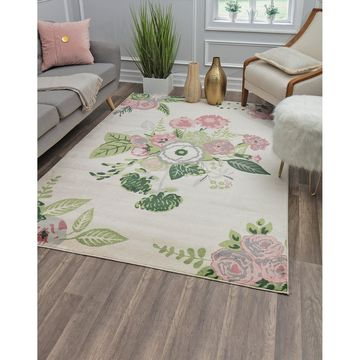 Valentina Rose Garden Modern Floral Transitional Area Rug By Rugs America