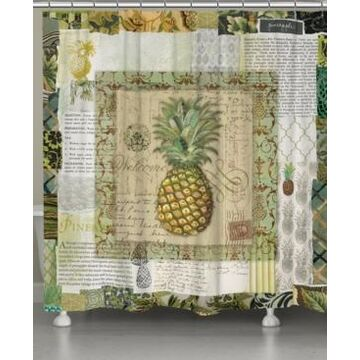 Laural Home Pineapple Scrapbook Shower Curtain Bedding