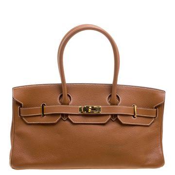 Hermes Brown Togo Leather Gold Hardware Shoulder Birkin 42 Bag