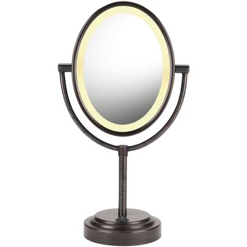 Conair Reflections Oval Oiled Bronze Double-Sided Lighted Mirror
