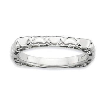 925 Rhodium Flashed Silver Multiple Heart Pattern Square Ring