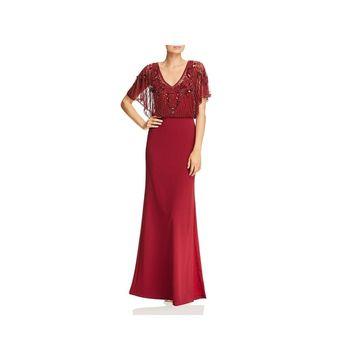 Aidan Mattox Womens Evening Dress Beaded Blouson