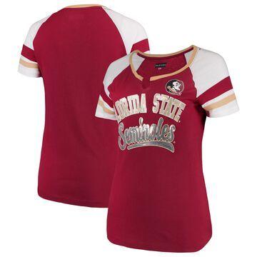 Women's 5th & Ocean by New Era Garnet Florida State Seminoles Baby Jersey Split Scoop Neck Ringer T-Shirt