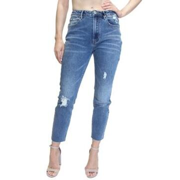 Almost Famous Juniors' High-Rise Raw-Hem Mom Jeans