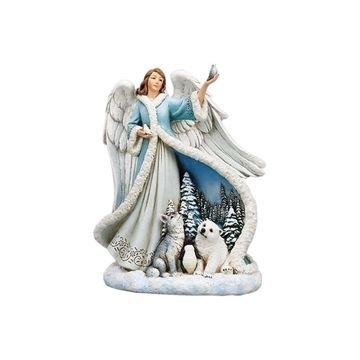 Roman Angel In Blue Dress With Animals Figurine