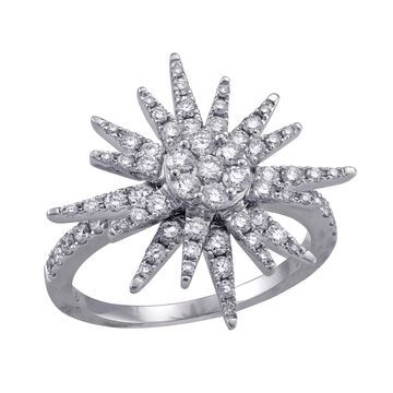 14kt White Gold 1 ct Diamonds Starburst Ring by Beverly Hills Charm - White H-I