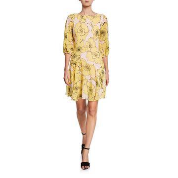 Floral-Printed High-Low Dress
