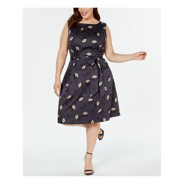 ANNE KLEIN Womens Gray Floral Sleeveless Jewel Neck Knee Length A-Line Dress Size: 18W