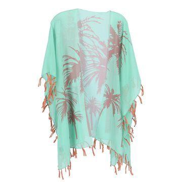 CTM Women's Palm Tree Print Kimono Wrap
