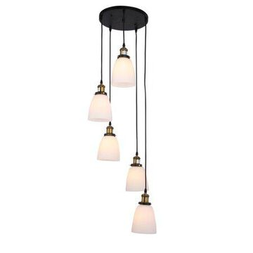 Warehouse of Tiffany Krisha 5-light Chandelier with Translucent White Glass Shades includes Edison Bulbs