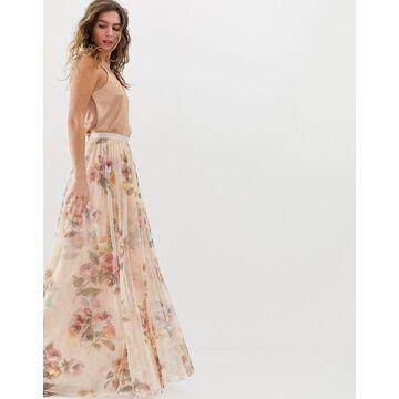 Needle & Thread floral maxi skirt in rose quartz-Pink