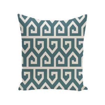 16 Inch Teal Decorative Geometric Throw Pillow
