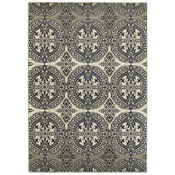 Style Haven Navy/Ivory Polypropylene Oriental Medallion Area Rug (9'10 X 12'10) - 9'10