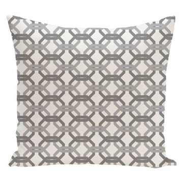We'Re All Connected Geometric Print Pillow, Classic Gray, 26