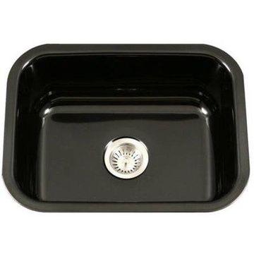 Houzer PCS-2500 BL Porcela Series Porcelain Enamel Steel Undermount Single Bowl Kitchen Sink, Black