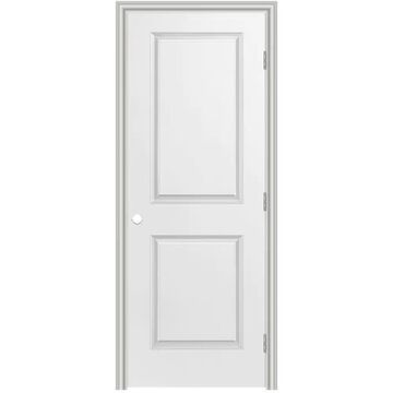 Masonite Traditional 30-in x 80-in (Primed) 2-Panel Square Hollow Core Primed Molded Composite Left Hand Inswing/Outswing Single Prehung Interior Door