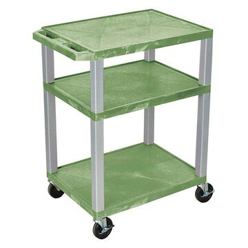 Luxor Tuffy Green 3-Shelf AV Cart With Nickel Legs and Electric