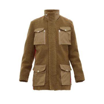 Schott - Contrast-back Shearling Field Jacket - Mens - Green Multi