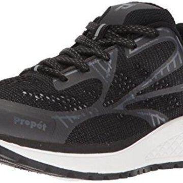Propet Women's One LT Sneaker, Black/Grey, 10 Narrow US