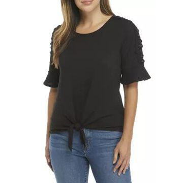 Agb Women's Tie Front Ruffle Sleeve Knit Top -