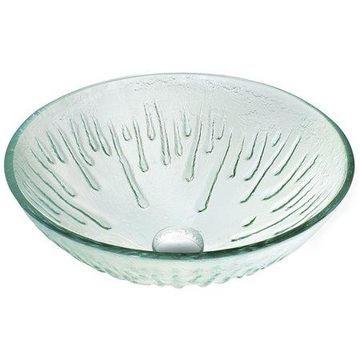 Vigo Glass Vessel Bathroom Sink, Icicles