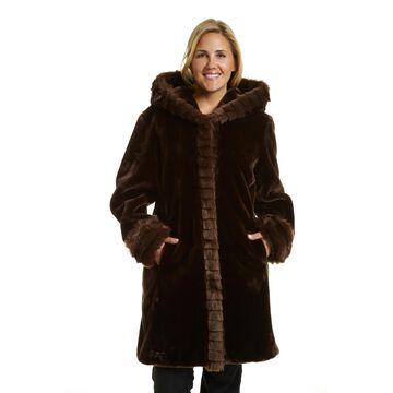 Excelled Women's Plus Faux Fur 3/4 Length