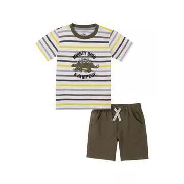 Kids Headquarters Boys' Boys 4-7 Dino T-Shirt And Shorts Set - -