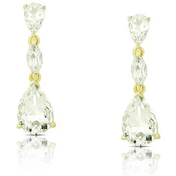 Dolce Giavonna Gold over Sterling Silver Green Amethyst Dangle Earrings