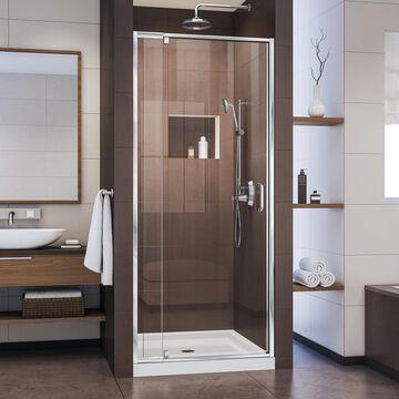 DreamLine Flex White 75-in x 32-in x 32-in Alcove Shower Kit (Center Drain) | DL-6215C-01CL