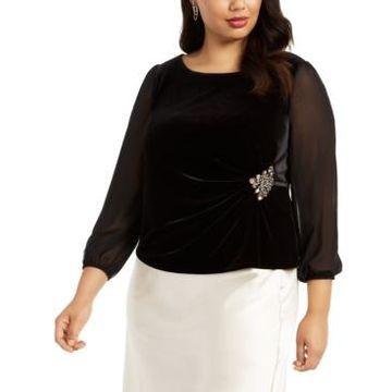 Alex Evenings Plus Size Velvet Embellished Top