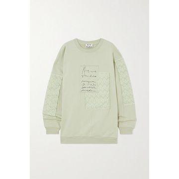 Acne Studios - Net Sustain Oversized Patchwork Organic Cotton-jersey And Jacquard Sweatshirt - Mint