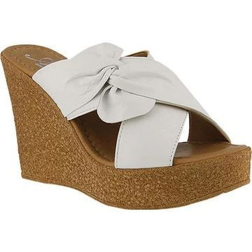 Azura Women's Veria Pleated Bow Slide White Leather