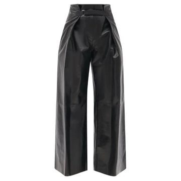 Jil Sander - Belted High-rise Leather Wide-leg Trousers - Womens - Black