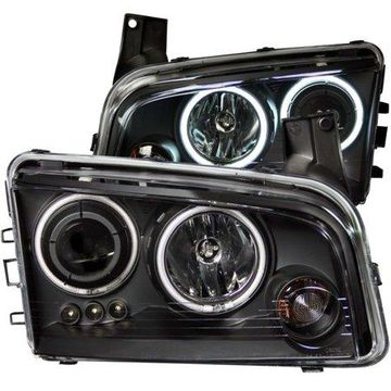 ANZO USA 121218 06-10 CHARGER HEADLIGHTS BLACK CLEAR PROJECTOR WITH HALOS