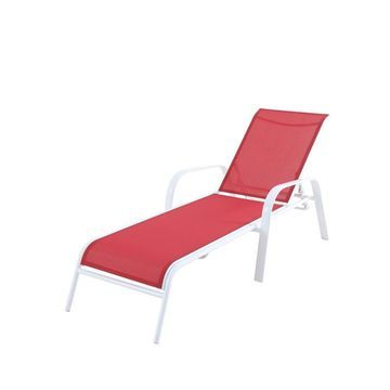 allen + roth Truxton Stackable Steel Chaise Lounge Chair with Red Sling Seat